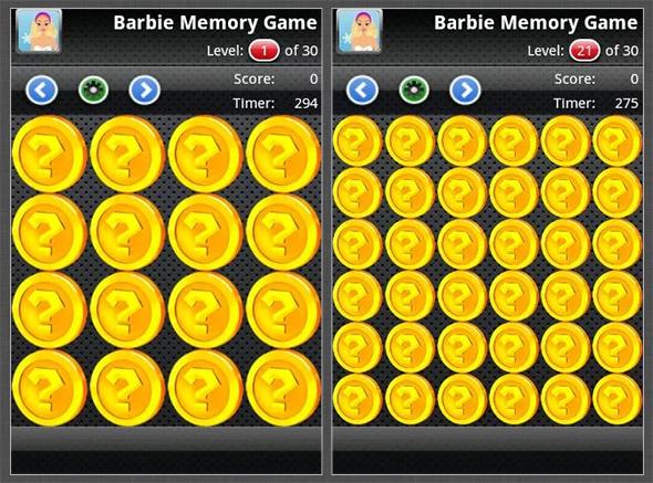 barbie memory game