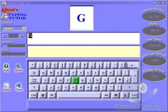 kirans typing tutor software