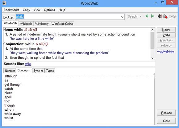 word web windows dictionary