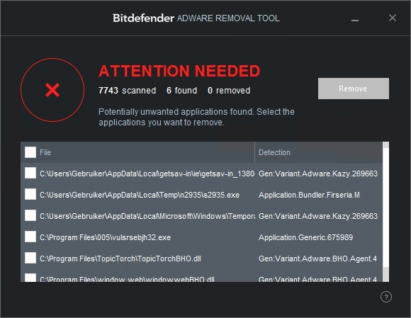 bit defender adware removal