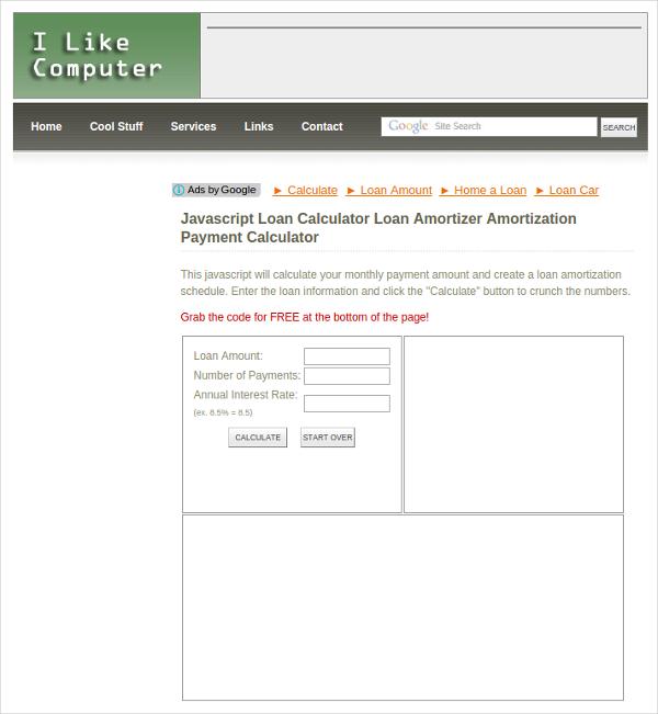 javascriptloancaluculator
