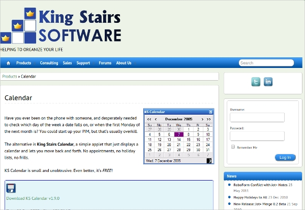 king stairs calendar