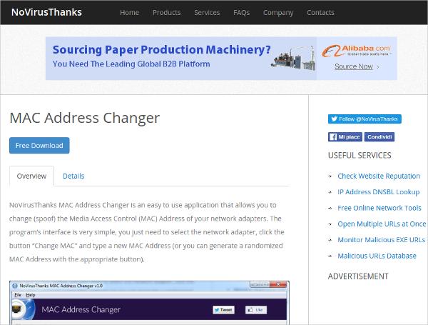 novirustanks mac address changer