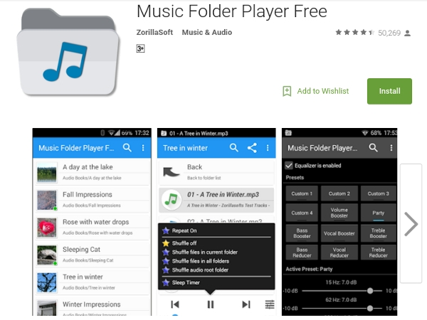 music folder player free by zorillasoft