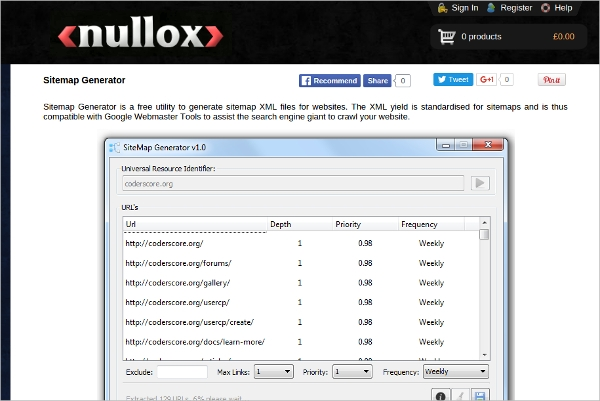 sitemap generator by nullox software