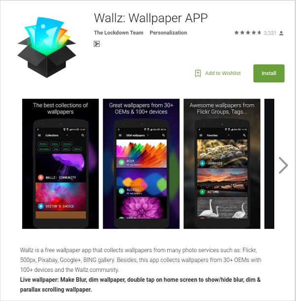 wallz wallpaper app by the lockdown team