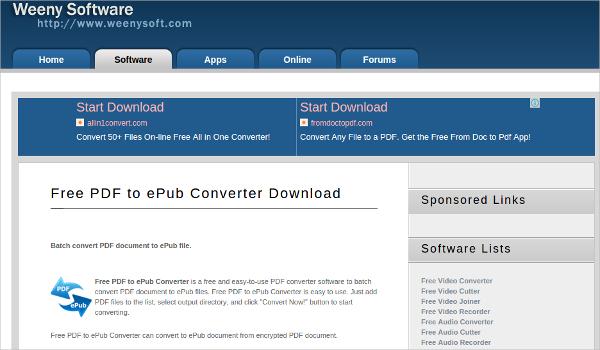 weeny free pdf to epub convertor