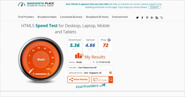 bandwidth place speed test