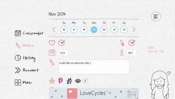 lovecycles menstrual calendar