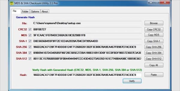 md5 sha checksum utility