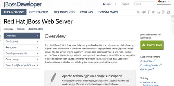 red hat jboss web server
