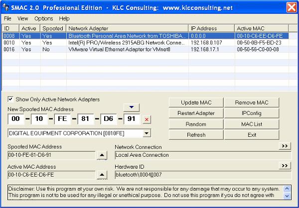 smac mac address change