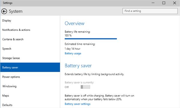 windows10 battery saver