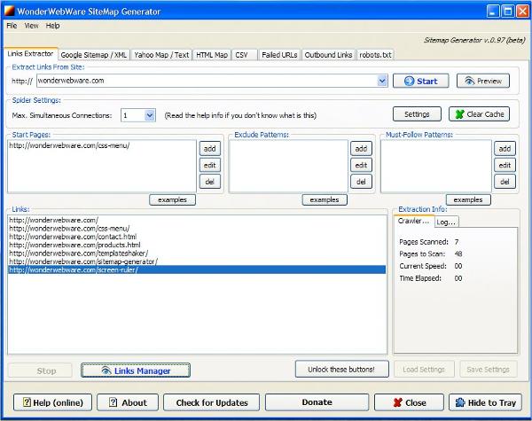 wonderwebware sitemap generator