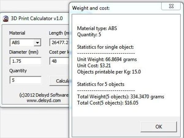 3d printer calculator