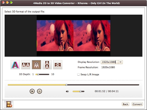 4media 2d to 3d video converter for mac