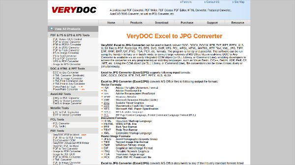verydoc excel to jpg converter