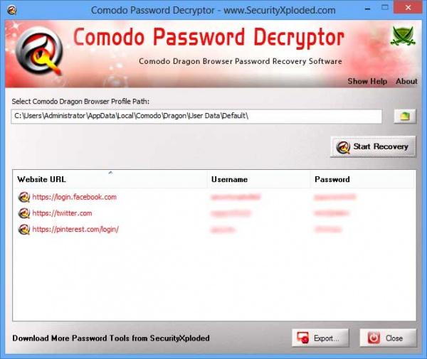 comodo dragon password decryptor