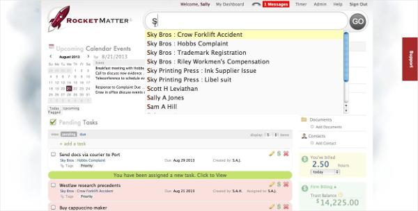 rocket matter law office management software