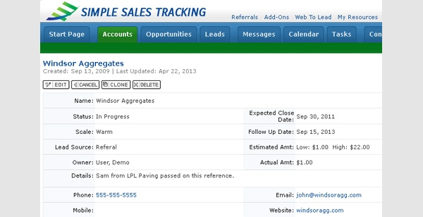 simple sales tracking