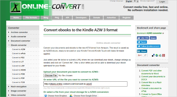 convert ebooks to the kindle azw 3 format