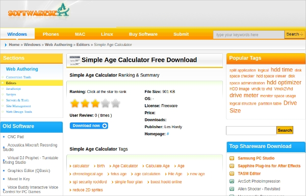 Portable age calculator free download