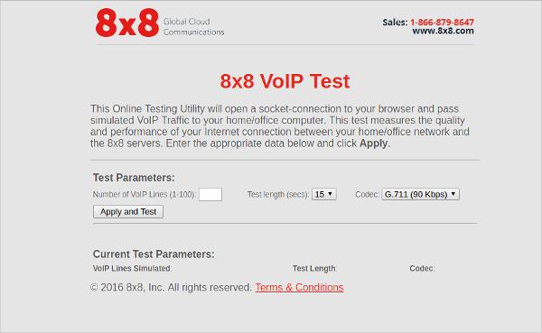 8x8 voip test