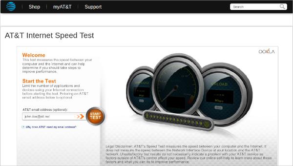 att internet speed test