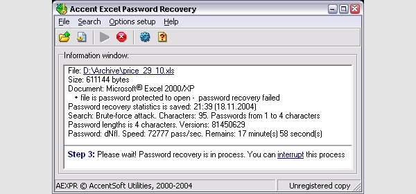 accent word password recovery for word