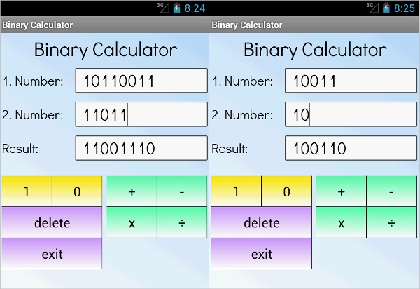binary calculator for android
