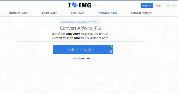 convert arw to jpg