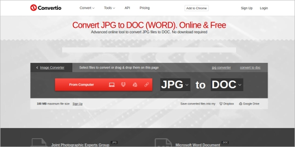 convert jpg to doc
