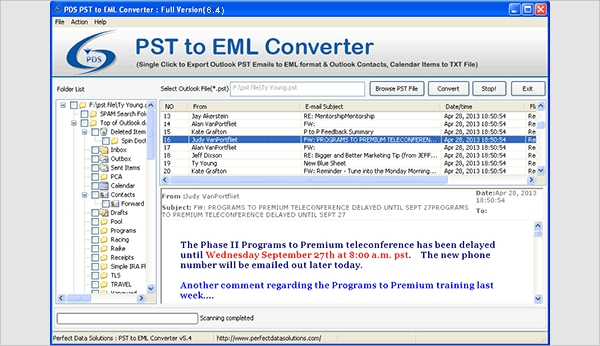 Convert Outlook PST Emails