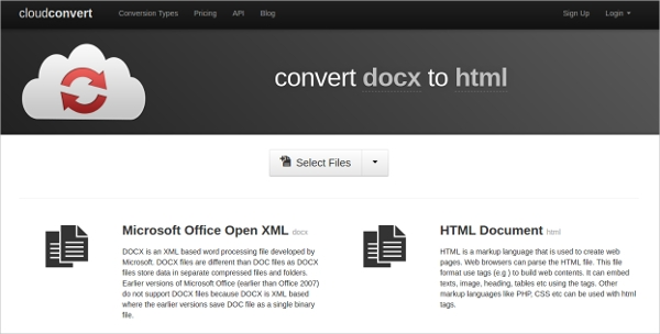 convert docx to html