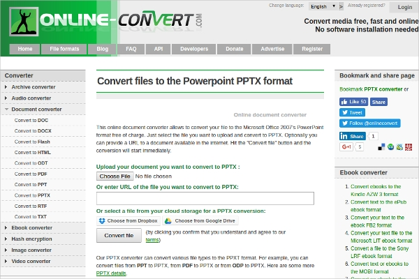 convert files to the powerpoint pptx format