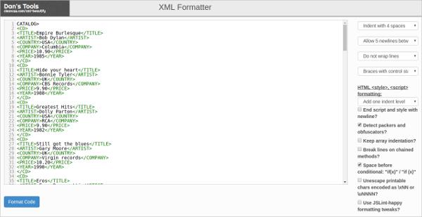 dans xml formatter
