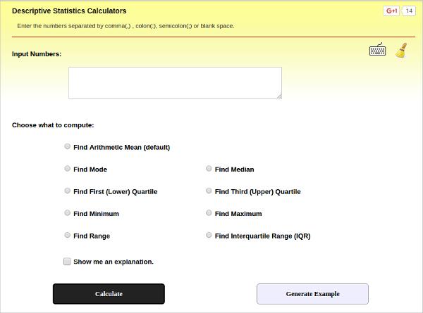 descriptive statistics calculators