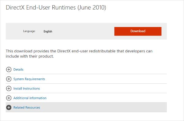 directx end user runtimes