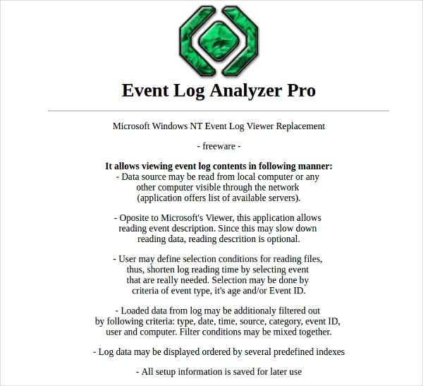6+ Best Event Log Analyzer Software Free Download For