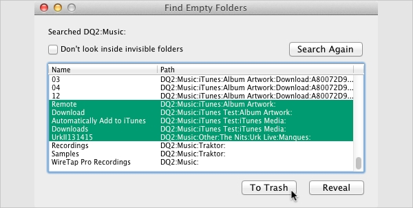 find empty folders for os x