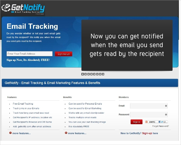 get notify email tracking