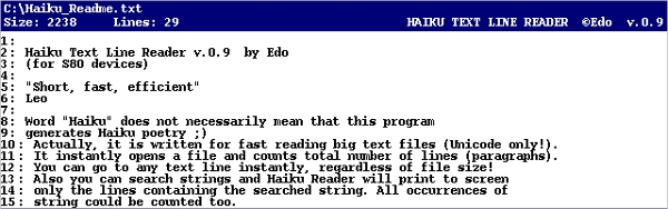haiku text line reader
