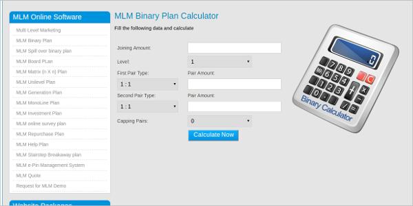 mlm binary plan calculator