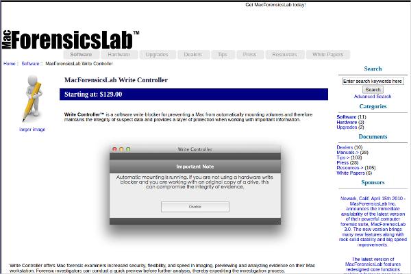macforensicslab write controller