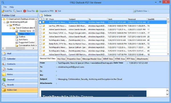 microsoft outlook pst file viewer