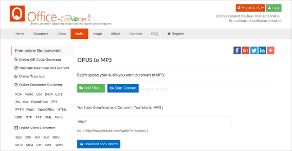office converter opus to mp3