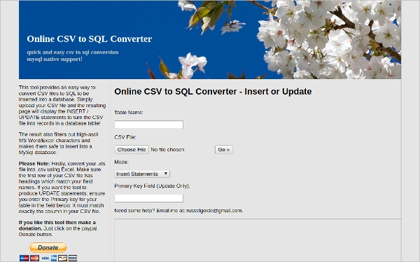 online csv to sql converter