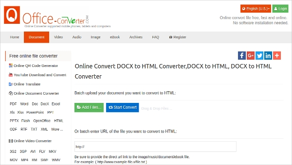 online convert docx to html