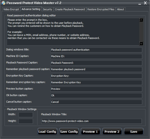 password protect video master personal edition