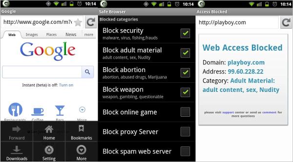 safe browser the web filter